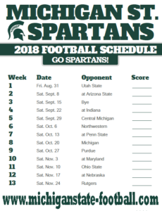 Michigan State Schedule 2018